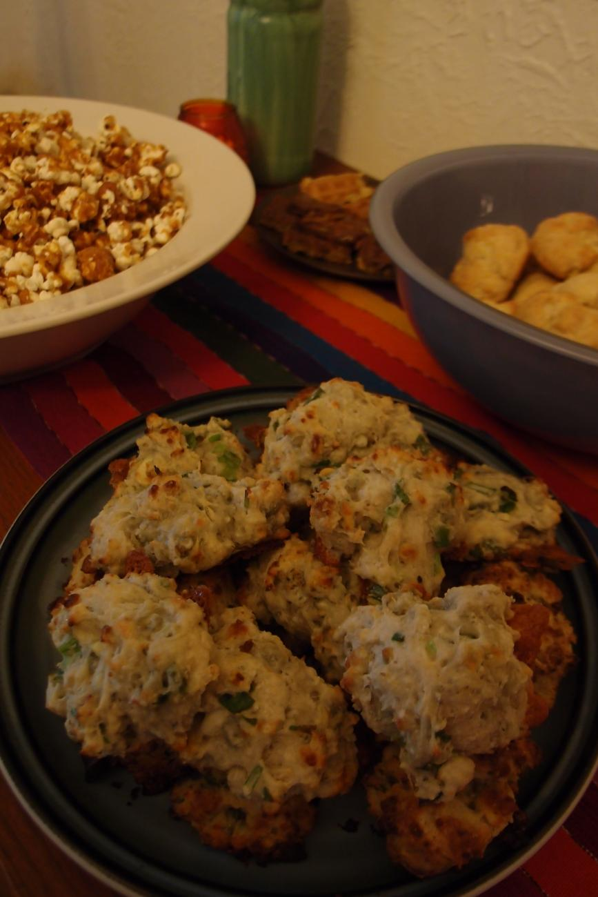 Blue cheese-scallion drop biscuits