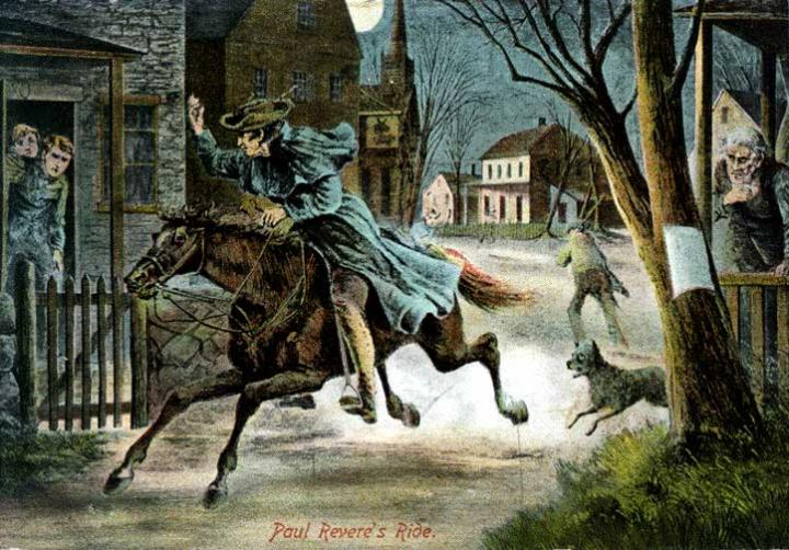Paul Revere ride through Lexington, Massachusetts.
